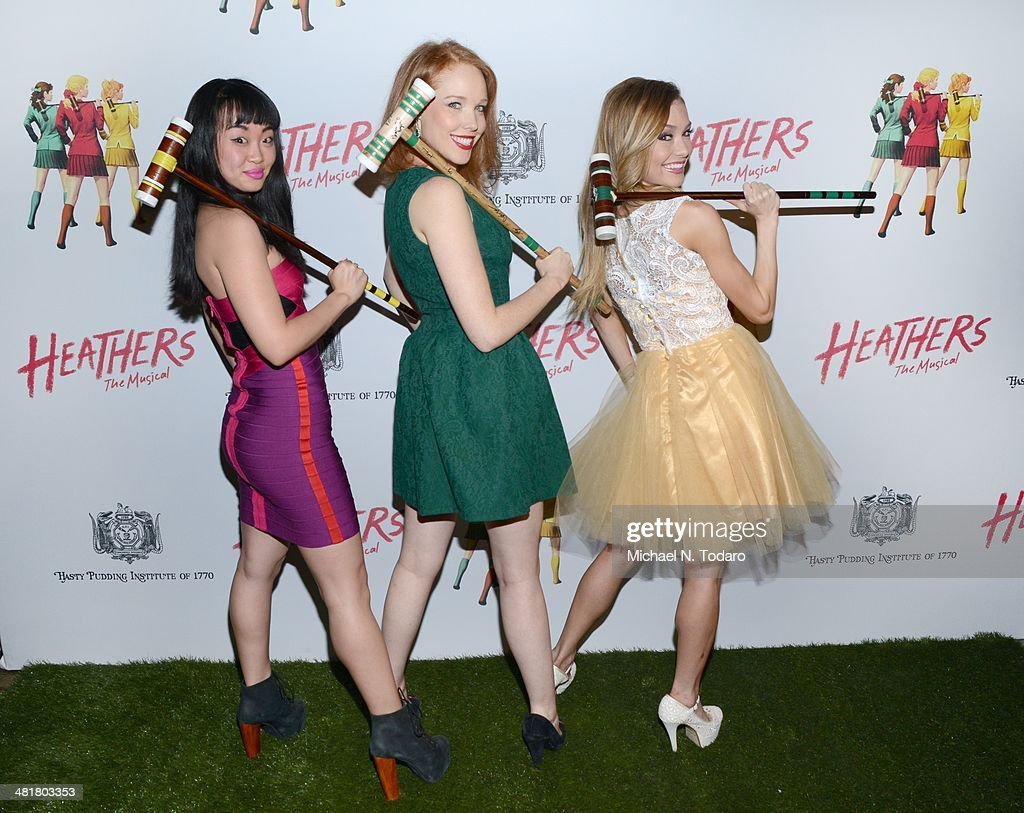 Jessica Keenan, Wynn Elle McLemore and Alice Lee the off Broadway opening night of 'Heathers The Musical' at New World Stages on March 31, 2014 in New York City.