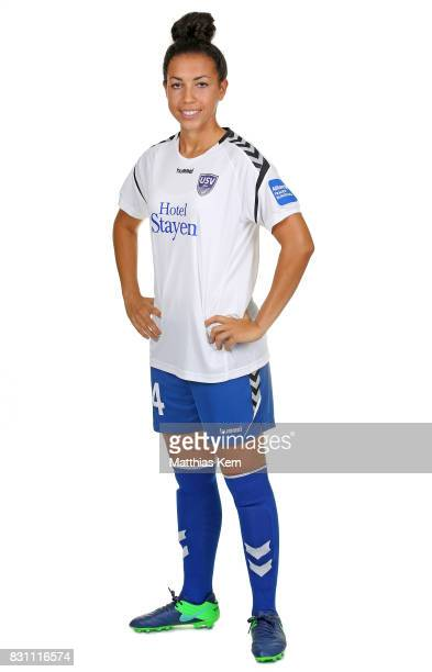 Jessica King of FF USV Jena poses during the Allianz Frauen Bundesliga Club Tour at Ernst Abbe Sportfeld on August 11 2017 in Jena Germany