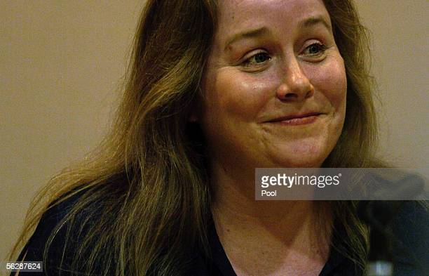 Jessica Kirchner, an ex-girlfriend and prom date of Joseph Smith, smiles towards the defendant as she testifies about their relationship during the...