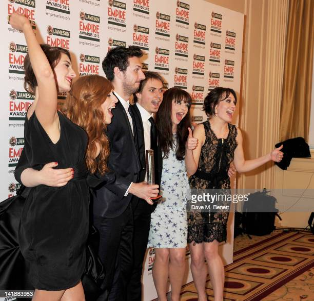Jessica Knappett, Lydia Rose Bewley, Blake Harrison, Joe Thomas, Tamla Kari and Laura Haddock of Best Comedy winner 'The Inbetweeners Movie' pose in...