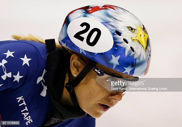 Jessica Kooreman of the United States races in the women's 1000 meter quarter final during the ISU World Cup Short Track Speed Skating event November...