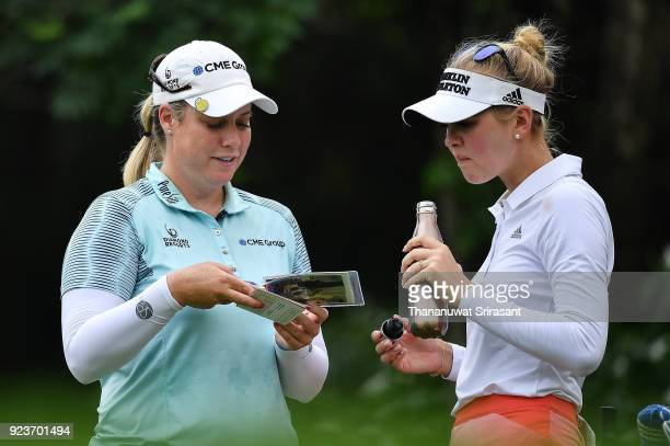 Jessica Korda and Brittany Lincicome of United States looks during the Honda LPGA Thailand at Siam Country Club on February 24 2018 in Chonburi...