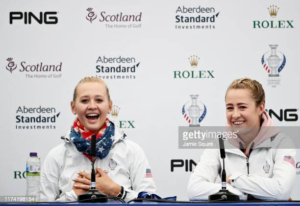 Jessica Korda and Nelly Korda both of Team USA talk in a press conference during Preview Day 4 of The Solheim Cup at Gleneagles on September 12 2019...
