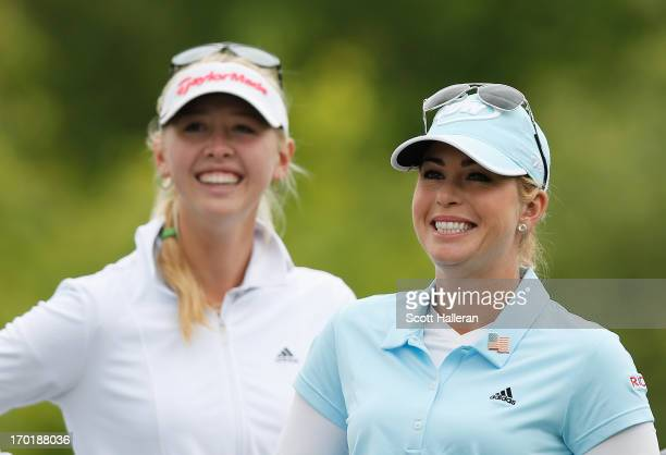 Jessica Korda and Paula Creamer wait on the second hole during the weatherdelayed second round of the Wegmans LPGA Championship at Locust Hill...