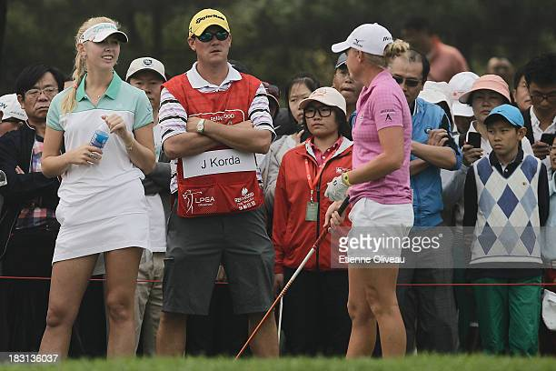 Jessica Korda and Stacy Lewis of United States talk while waiting during the third round of the Reignwood LPGA Classic at Pine Valley Golf Club on...