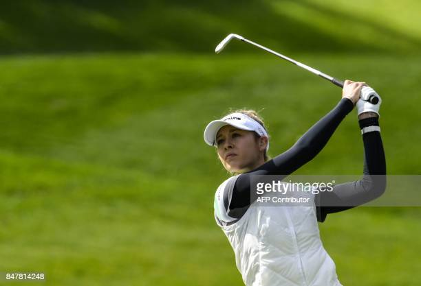 Jessica Korda from United States competes on September 16 2016 during the Evian Championship in the French Alps town of EvianlesBains a major...