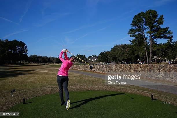 Jessica Korda hits her tee shot on the 14th hole at the Coates Golf Championship Presented by RL Carriers Final Round at the Golden Ocala Golf...