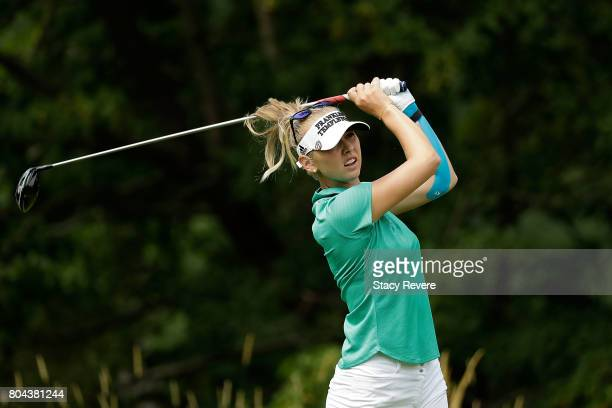 Jessica Korda hits her tee shot on the fifth hole during the second round of the 2017 KPMG PGA Championship at Olympia Fields on June 30 2017 in...