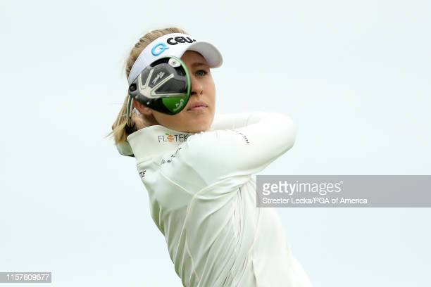 Jessica Korda hits her tee shot on the third hole during the third round of the KPMG PGA Championship at Hazeltine National Golf Club on June 22,...