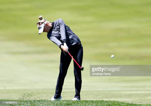 Jessica Korda hits on the fifth hole during the first round of the LPGA Mediheal Championships at Lake Merced Golf Club on May 02 2019 in Daly City...