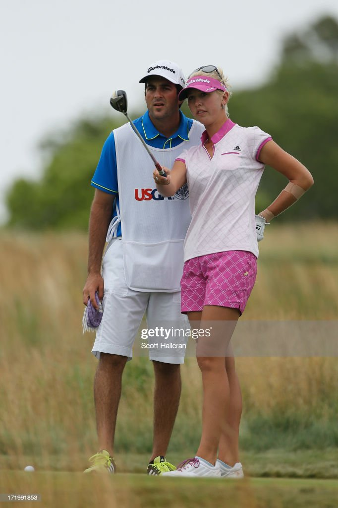 Jessica Korda lines up her tee shot on the 15th hole with her boyfriend/caddie Johnny DelPrete during the final round of the 2013 U.S. Women's Open at Sebonack Golf Club on June 30, 2013 in Southampton, New York.