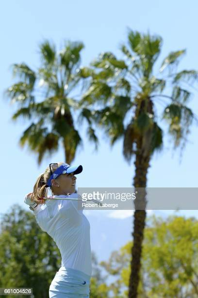 Jessica Korda makes a tee shot on the 17th hole during round one of the ANA Inspiration on the Dinah Shore Tournament Course at Mission Hills Country...
