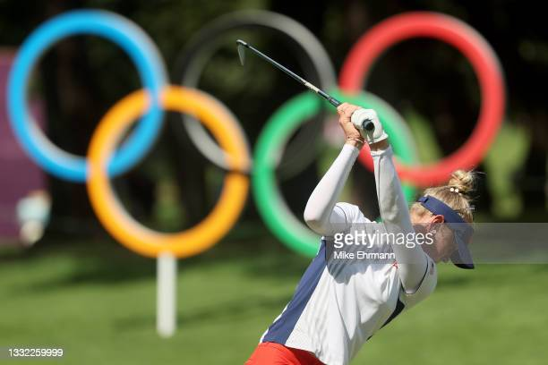 Jessica Korda of Team United States plays her shot from the 16th tee during the first round of the Women's Individual Stroke Play on day twelve of...