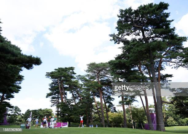 Jessica Korda of Team United States plays her shot from the 18th tee during the first round of the Women's Individual Stroke Play on day twelve of...