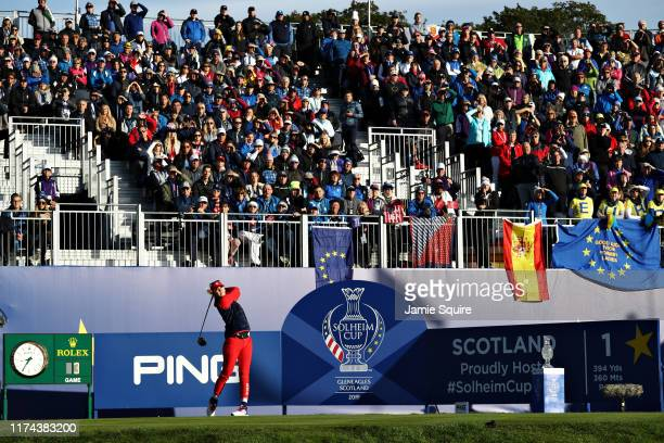 Jessica Korda of Team USA plays her shot from the first tee during Day 1 of The Solheim Cup at Gleneagles on September 13, 2019 in Auchterarder,...