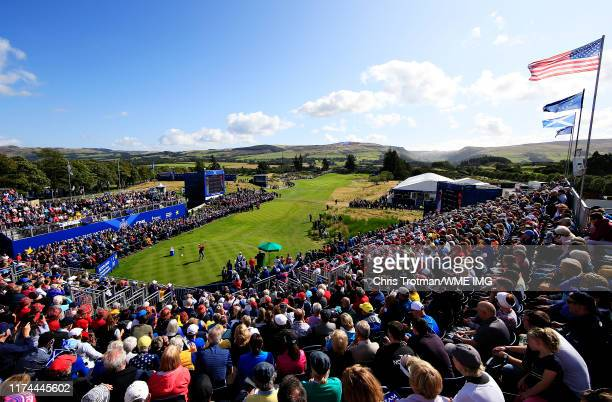 Jessica Korda of Team USA plays her shot from the first tee during Day 1 of The Solheim Cup at Gleneagles on September 13 2019 in Auchterarder...