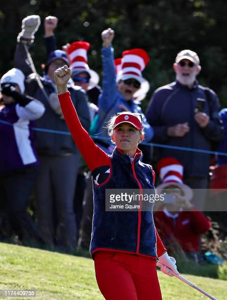 Jessica Korda of Team USA reacts to a putt on the tenth green during Day 1 of The Solheim Cup at Gleneagles on September 13 2019 in Auchterarder...