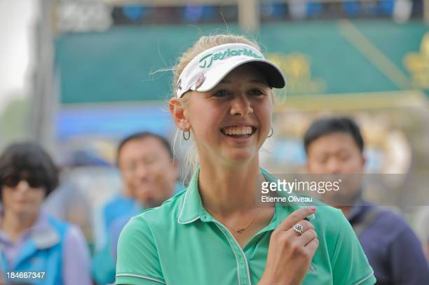 Jessica Korda of the United States answers to an interview after the first round of the Reignwood LPGA Classic at Pine Valley Golf Club on October 3...
