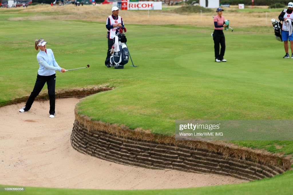 Jessica Korda of the United States hits from a bunker on the 2nd hole during the first round of the Ricoh Women's British Open at Royal Lytham & St. Annes on August 2, 2018 in Lytham St Annes, England.