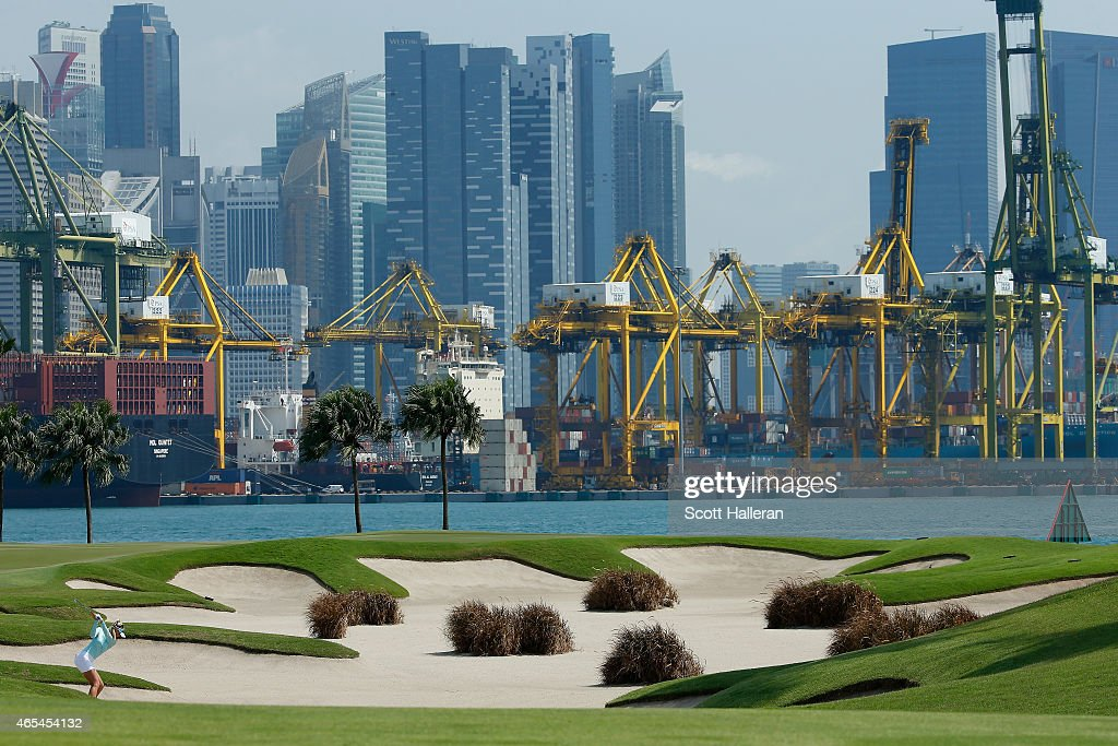Jessica Korda of the United States hits her approach shot on the fifth hole during the third round of the HSBC Women's Champions at the Sentosa Golf Club on March 7, 2015 in Singapore, Singapore.