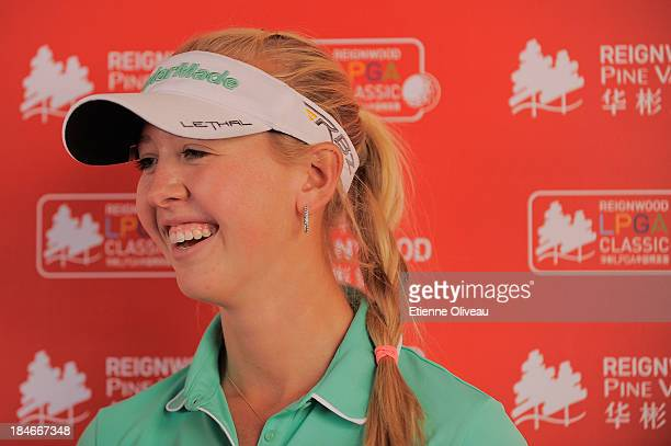 Jessica Korda of the United States in interview after the first round of the Reignwood LPGA Classic at Pine Valley Golf Club on October 3 2013 in...