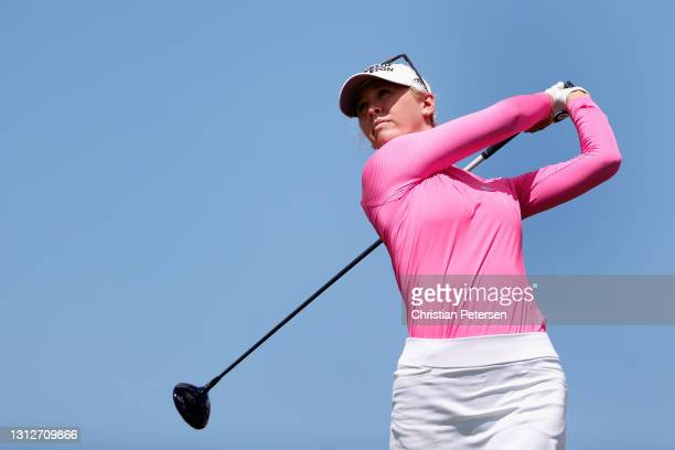 Jessica Korda of the United States plays a tee shot on the 13th hole during the second round of the LPGA LOTTE Championship at Kapolei Golf Club on...