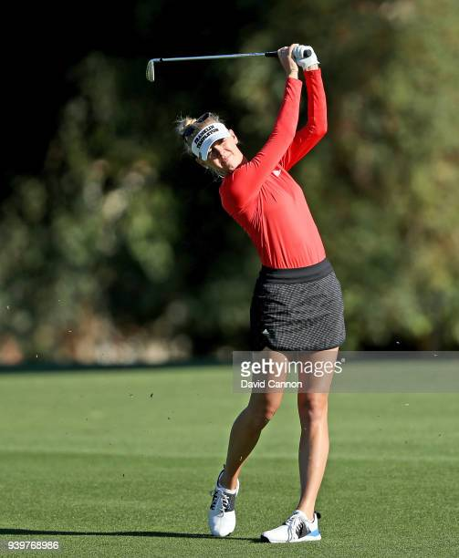 Jessica Korda of the United States plays her second shot on the par 5 second hole during the first round of the 2018 ANA Inspiration on the Dinah...