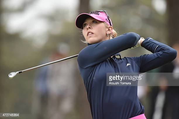Jessica Korda of the USA hits her tee shot on the 17th hole during the third round of the World Ladies Championship Salonpas Cup at the Ibaraki Golf...