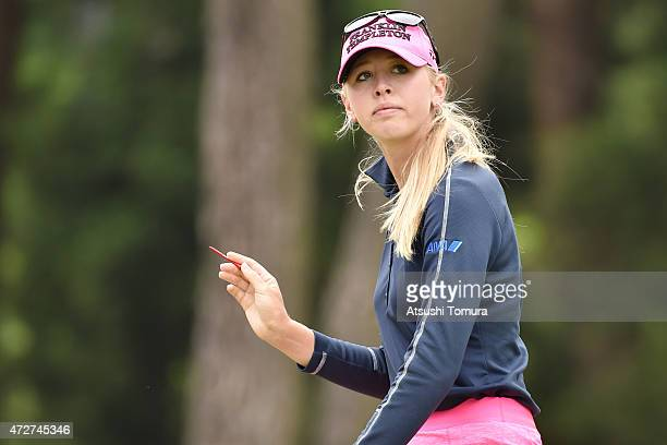 Jessica Korda of the USA reacts during the third round of the World Ladies Championship Salonpas Cup at the Ibaraki Golf Club on May 9 2015 in...