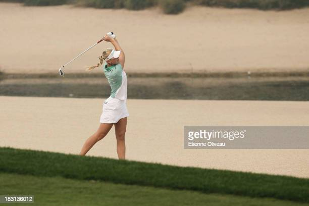 Jessica Korda of United States hits out of a bunker during the third round of the Reignwood LPGA Classic at Pine Valley Golf Club on October 5 2013...