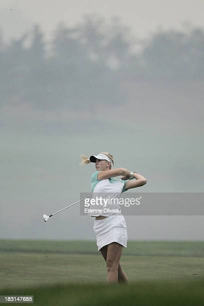 Jessica Korda of United States in action during the third round of the Reignwood LPGA Classic at Pine Valley Golf Club on October 5 2013 in Beijing...