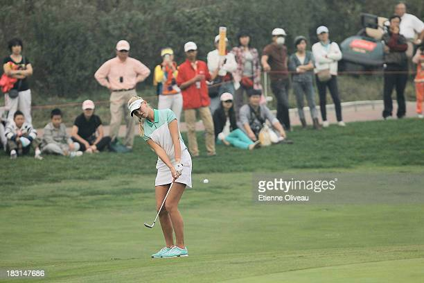 Jessica Korda of United States makes an approach during the third round of the Reignwood LPGA Classic at Pine Valley Golf Club on October 5 2013 in...
