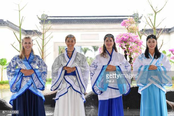 Jessica Korda of United States Michelle Wie of United States Sandra Gal of Germany and Xiang Sui of China pose during a tournament launch event for...