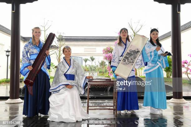 ISLAND CHINA NOVEMBER Jessica Korda of United States Michelle Wie of United States Sandra Gal of Germany and Xiang Sui of China pose during a...