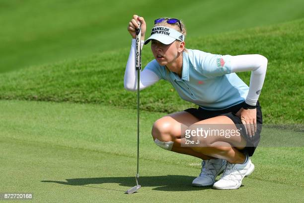 Jessica Korda of United States plays a shot on the 8th hole during the final round of the Blue Bay LPGA at Jian Lake Blue Bay golf course on November...