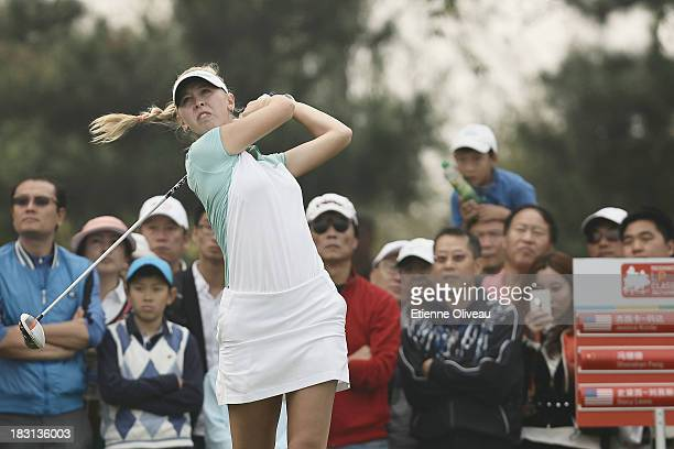 Jessica Korda of United States plays a tee shot during the third round of the Reignwood LPGA Classic at Pine Valley Golf Club on October 5 2013 in...
