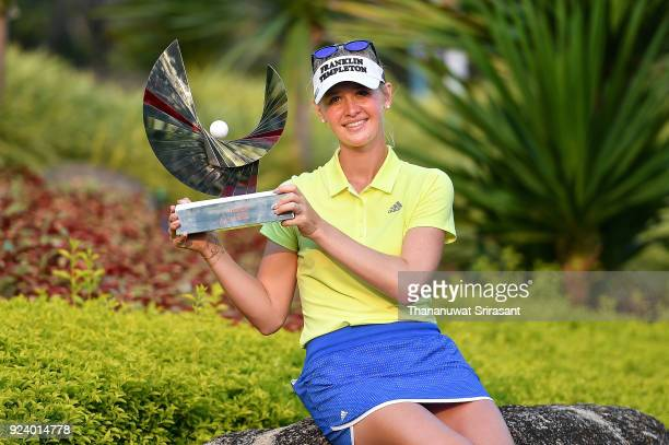Jessica Korda of United States poses with the trophy after winning the Honda LPGA Thailand at Siam Country Club on February 25 2018 in Chonburi...