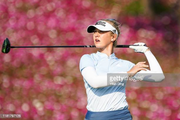Jessica Korda of USA drives from a tee during Round 2 of 2019 Buick LPGA Shanghai at Shanghai Qizhong Garden Golf Club on October 18 2019 in Shanghai...