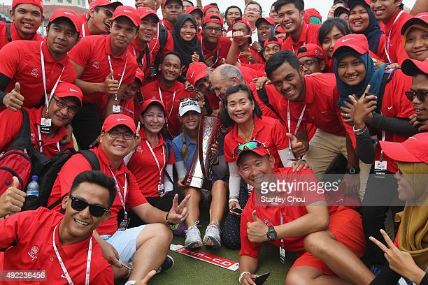 Jessica Korda of USA is greeted by the volunteers on the 18th hole after winning the Sime Daeby LPGA in the final round of the Sime Darby LPGA Tour...