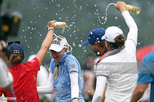 Jessica Korda of USA is splashed with water on the 18th hole after winning the Sime Daeby LPGA in the final round of the Sime Darby LPGA Tour at...