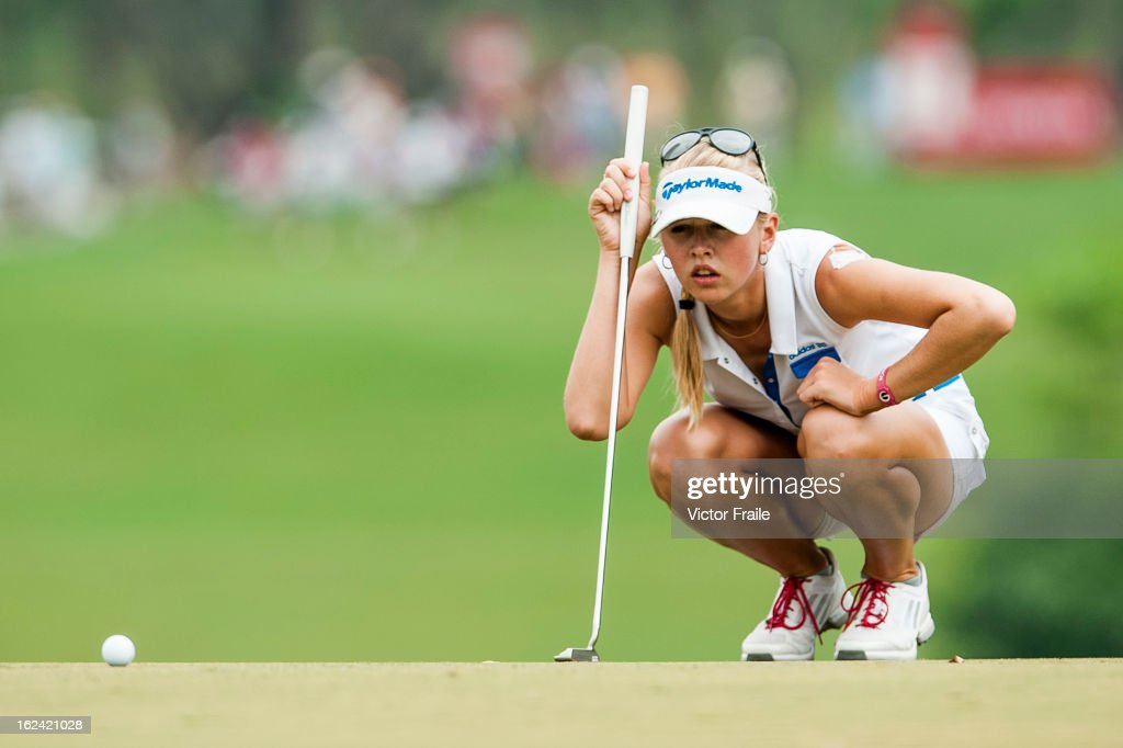Jessica Korda of USA lines up a putt on the 2nd green during day three of the Honda LPGA Thailand at Siam Country Club on February 23, 2013 in Chon Buri, Thailand.