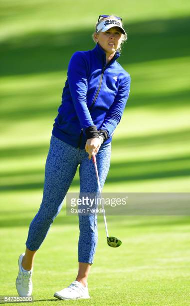 Jessica Korda of USA plays a shot during the weather delayed first round of The Evina Championship at Evian Resort Golf Club on September 15 2017 in...