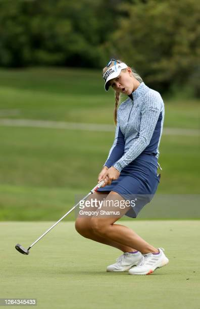 Jessica Korda reacts after a putt on the eighth hole during the first round of the Marathon LPGA Classic at Highland Meadows Golf Club on August 06...