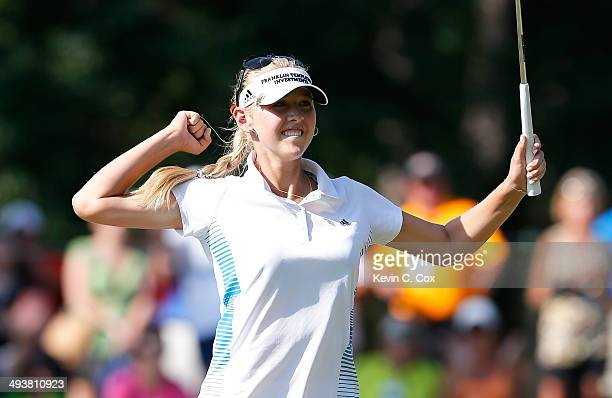 Jessica Korda reacts after sinking her birdie putt on the 18th green during the final round of the Airbus LPGA Classic presented by JTBC at the...