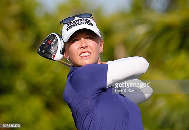 Jessica Korda tees off the fourth hole during the first round of the Pure Silk Bahamas LPGA Classic at the Ocean Club Golf Course on January 28 2016...