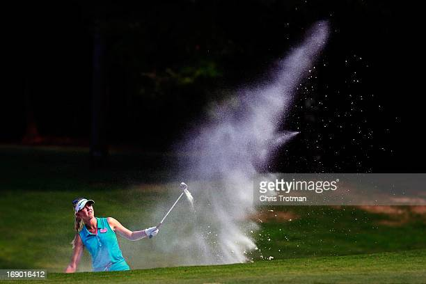 Jessica Korda watches her bunker shot on the 12th hole during round three of the Mobile Bay LPGA Classic at the Crossings Course at the Robert Trent...