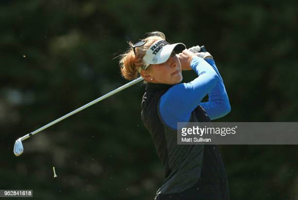 Jessica Korda watches her tee shot on the second hole during the final round of the Mediheal Championship at Lake Merced Golf Club on April 29 2018...