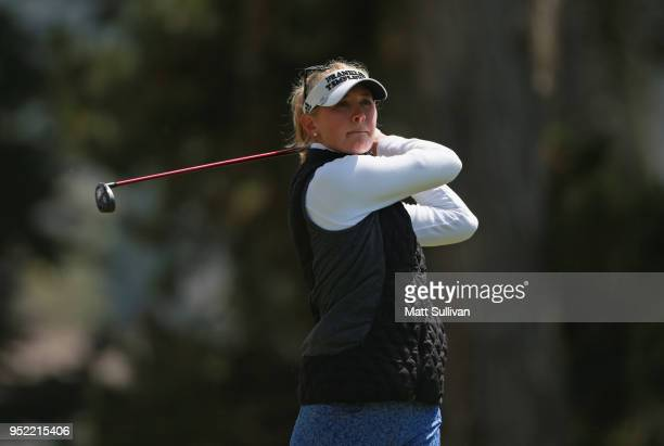 Jessica Korda watches her tee shot on the seventh hole during the second round of the Mediheal Championship at Lake Merced Golf Club on April 27 2018...