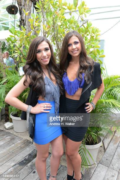 Jessica Labbadia and Melissa Labbadia of L2 music attend Mercedes-Benz Fashion Week Swim 2013 at The Raleigh on July 22, 2012 in Miami Beach, Florida.