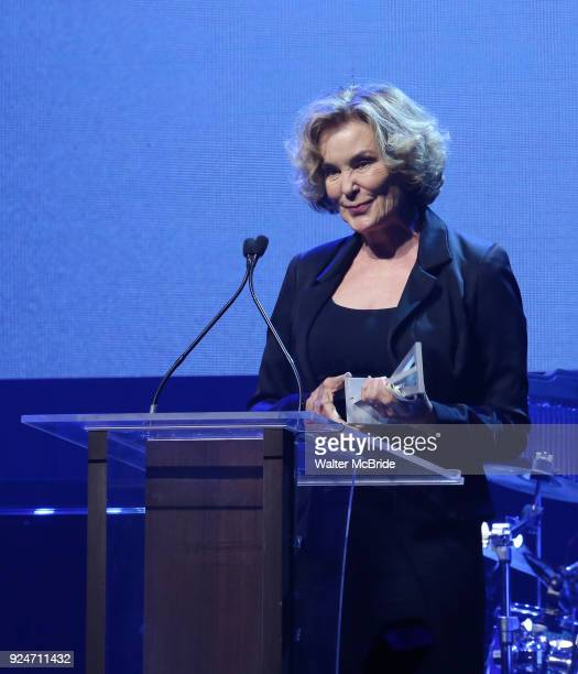 Jessica Lange accepts the Jason Robards Award for Excellence in Theatre on stage at the Roundabout Theatre Company's 2018 Gala 'A Legendary Night' on...
